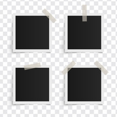 Set of square vector photo frames on sticky tape on a transparent background. Template photo design. Vector illustration