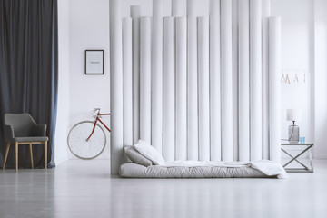 Spacious bedroom with grey matress