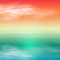 Sea sunset. Tropical summer background.