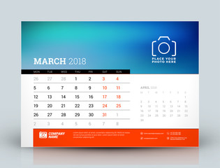 Vector calendar design template. March 2018. Place for photo. Red and black colors. Two months on the page. Week starts on Monday