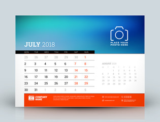 Vector calendar design template. July 2018. Place for photo. Red and black colors. Two months on the page. Week starts on Monday