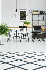 White carpet on floor