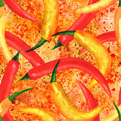 Seamless pattern, watercolor chili peppers with paint splashes