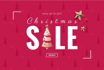 Christmas sale design template. Holiday winter background with christmas tree and golden stars. Vector illustration