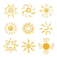Set of Hand drawn chalk Suns