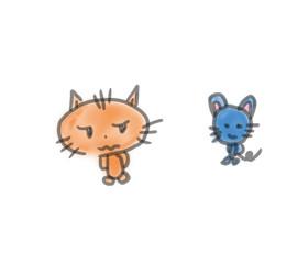 ネコとネズミ。ゆるいイラスト