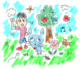 犬?猫?謎の動物と少年の夏休み。子供の絵日記風イラスト