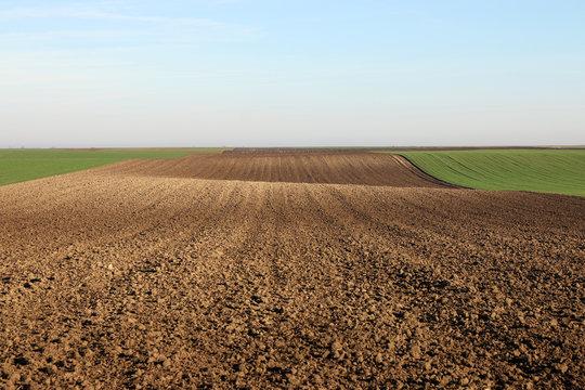 plowed field landscape autumn season