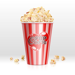 Cinema food popcorn in disposable bowl realistic vector illustration