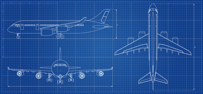 Airplane blueprint. Outline aircraft on blue background. Vector illustration