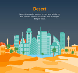 Cartoon Arab City on a Landscape Background Card Poster. Vector