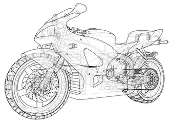 Sports bike technical wire-frame. EPS10 format. Vector created of 3d.