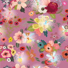 Seamless pattern with cartoon fairies