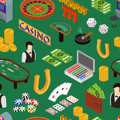 Casino and Gambling Game Background Pattern Isometric View. Vector