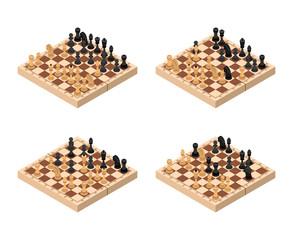 Chess Set Isometric View. Vector