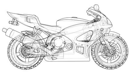 Blueprint sport bike. EPS10 format. Vector created of 3d.