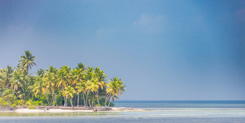 Beautiful summer beach scene as tropical landscape background use for vacation and travel or tourism concept
