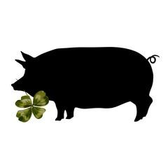 Schwein mit Kleeblatt - Glücksbringer  an Silvester - schwarz grün - Lithographie Grafik Vektor Freisteller