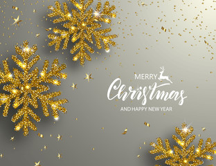 Elegant Christmas Background with Shining Gold Snowflakes. Vector illustration.
