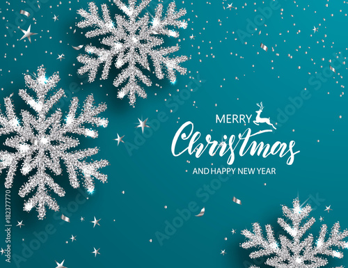 """Elegant Christmas Background With Snowflakes Stock Vector: """"Elegant Christmas Background With Shining Silver"""