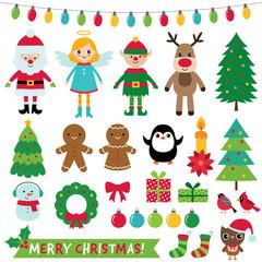 Christmas decoration and characters (Santa, elf, angel, reindeer) set