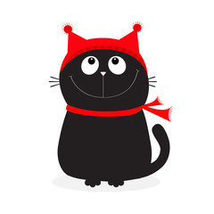 Black Cat kitten head face looking up. Kitty wearing red hat, scarf. Cute funny cartoon character. Merry Christmas. Hello winter. Flat design. White background.