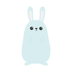 Bunny rabbit. Funny head face. Big ears. Cute kawaii cartoon character. Baby greeting card template. Happy Easter sign symbol. White background. Flat design.