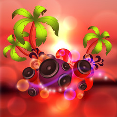 Tropical disco dance red background with music and fantasy design elements