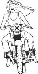 Wall Mural - lady biker