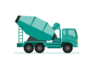 concrete cement mixer truck icon in flat design style vector illustration