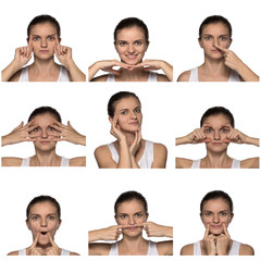 Massage, yoga, gymnastics or rejuvenating exercises for the face makes the girl own hands on a white background