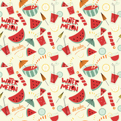 Watermelon cocktails seamless pattern.