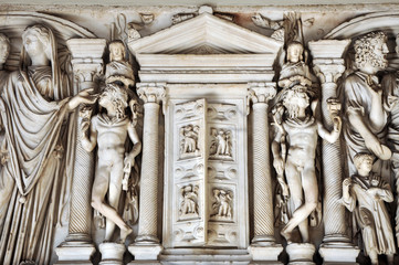 Wall Mural - Bas-relief and sculpture details in stone of Roman Gods and Emperors