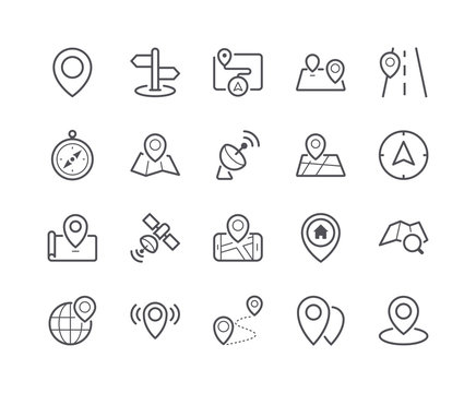 Minimal Set of Map and Location Line Icons