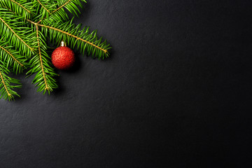 Christmas background with tree and red Christmas ball