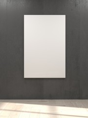 3D Rendering Of Empty White Poster Hanging On Concrete Wall And Sunlight From The Window