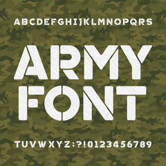 Army alphabet font. Scratched type letters and numbers on a seamless green camo background. Vector typography for your design.