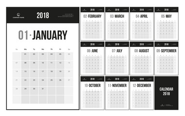 Minimalist wall Calendar Planner 2018