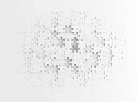 White Puzzle Background - 3d rendering
