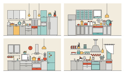 Collection of kitchens furnished with modern furniture, household appliances, cooking facilities and utensils. Set of modern home interiors drawn in line art style. Colorful vector illustration