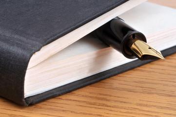 Stylo plume entre les pages d'un livre