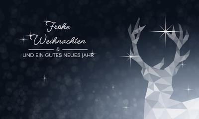 Weihnachtskarte Hirsch - Blau (DE)