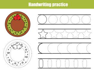 Handwriting practice sheet. Educational children game, printable worksheet for kids. Writing training printable worksheet. Christmas theme