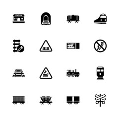 Trains icons - Expand to any size - Change to any colour. Flat Vector Icons - Black Illustration on White Background.