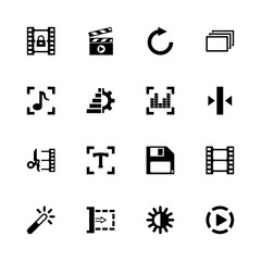 Video Editing icons - Expand to any size - Change to any colour. Flat Vector Icons - Black Illustration on White Background.