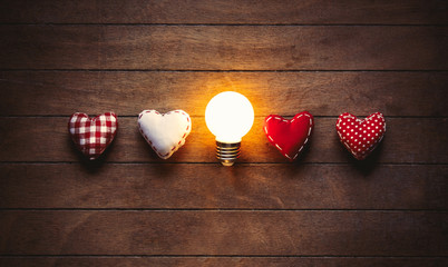 Heart shape toys and bulb