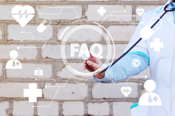 Wall Mural - Doctor pushing button faq healthcare network on virtual panel medicine ( frequently asked questions ).