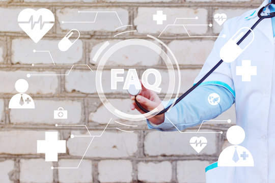 Doctor pushing button faq healthcare network on virtual panel medicine ( frequently asked questions ).