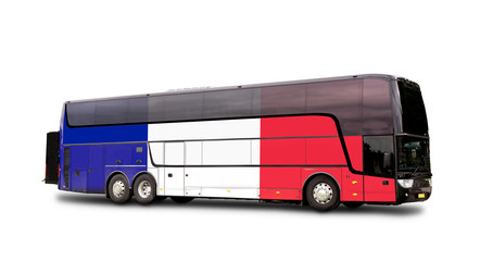 Black Travel  bus with the French flag on side