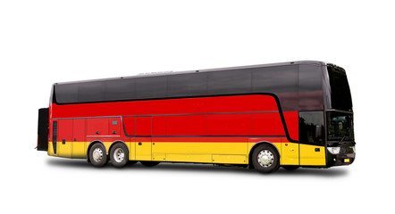 Black Travel  bus with the Germany flag on side
